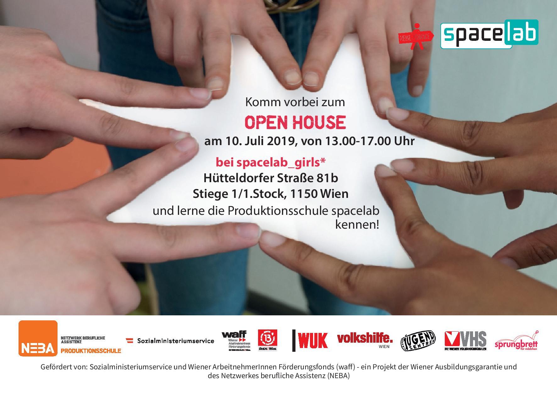 Flyer für das Open House bei spacelab_girls am 10.7.2019, von 13-17:00