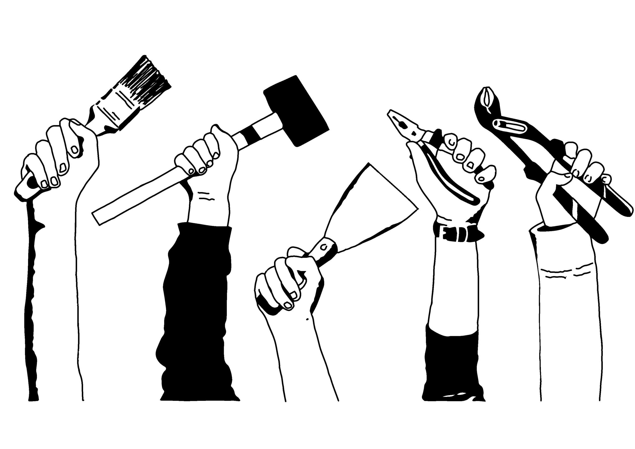 Mädchen-Hände mit Werkzeug