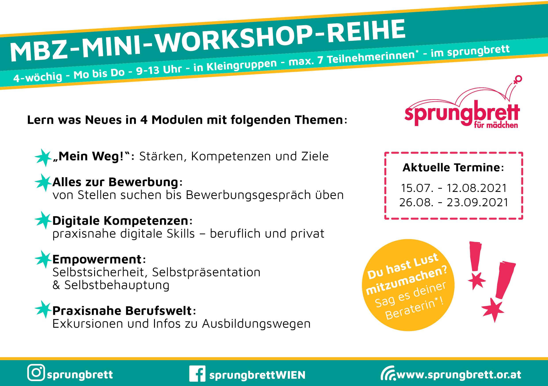 Flyer von MBZ-Mini-Workshopreihe